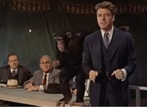 Elmer Gantry and friend lecture on evil-ution.
