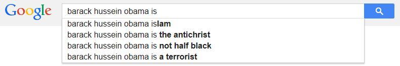 "Google's autofill when you punch in ""Barack Hussein Obama is"""