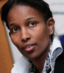 epa01255149 Ayaan Hirsi Ali, the Somali-born former Dutch deputy threatened with death for her outspoken criticism of Islam, delivers a speech in front of the Socialist Group of the European Parliament in Brussels, Belgium, 14 February 2008. Ayaan Hirsi Ali sought European protection. French star philosopher Bernard-Henri Levy has spearheaded a campaign for Hirsi Ali to receive honorary French citizenship -- and financial aid to cover her security costs. Hirsi Ali is threatened with death for her role in writing the script of Van Gogh's film 'Submission', about the treatment of women under Islam. A note targeting her by name was found on his slain body. EPA/OLIVIER HOSLET