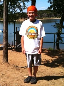 A youthful camper at Camp Quest Texas prepares for an amazing week