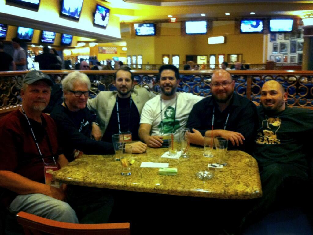 Skeptic Inkers at the Del Mar (John Loftus, Russell Blackford, Ed Clint, Jacques Rousseau, Caleb Lack, Damion Reinhardt)
