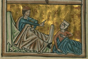 Boaz catches Ruth uncovering his feet