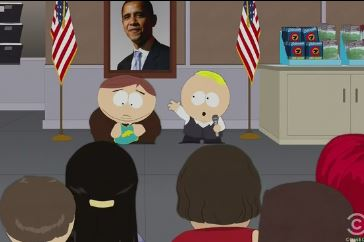 """""""Eric, ...Do you pledge pledge allegiance to the flag?"""" copyright Comedy Central."""