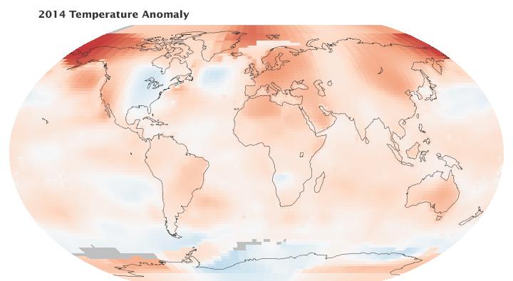 2014 Temperature anomaly, from NASA