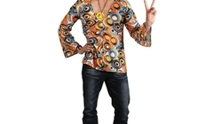 60\'S 70\'S Groovy Hippie Shirt Mens Fancy Dress Costume Adults Hippy Outfit