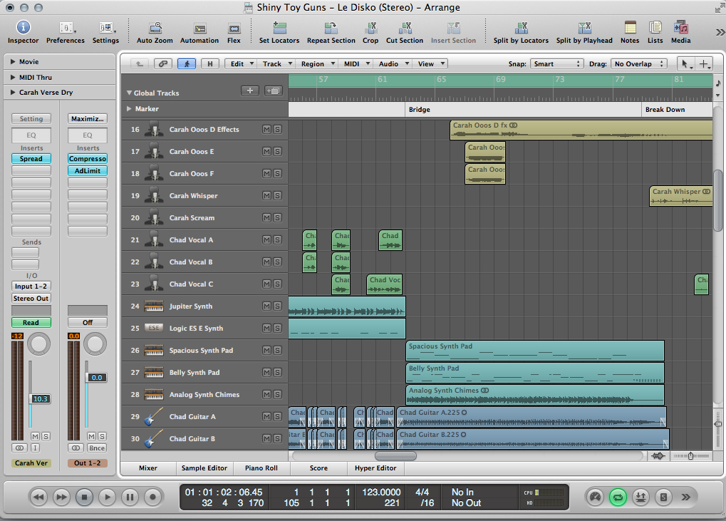 "Shiny Toy Guns ""Le Disko"" in Logic Pro 8"