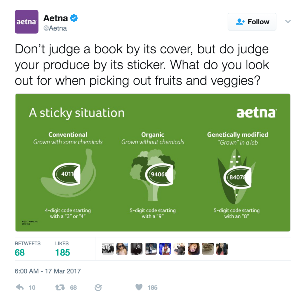 Tweet from Aetna suggesting organic foods are good and GMOs are bad