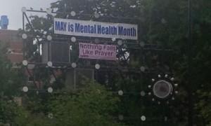 """FFRF banner - """"Nothing Fails Like Prayer"""""""